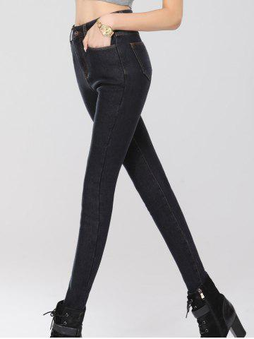 Chic Stretchy Thickening Pencil Jeans - 2XL BLACK Mobile