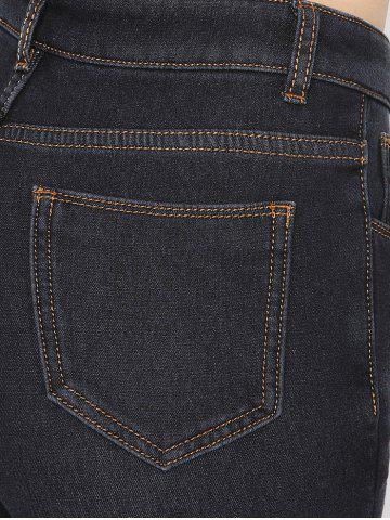 Cheap Stretchy Thickening Pencil Jeans - 2XL BLACK Mobile