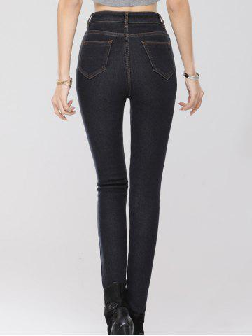 Buy Stretchy Thickening Pencil Jeans - 2XL BLACK Mobile