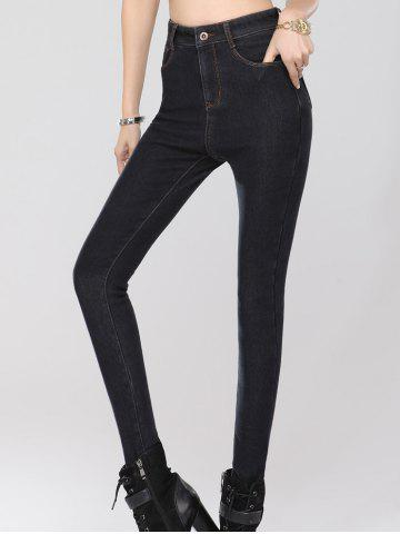 Sale Stretchy Thickening Pencil Jeans - 2XL BLACK Mobile