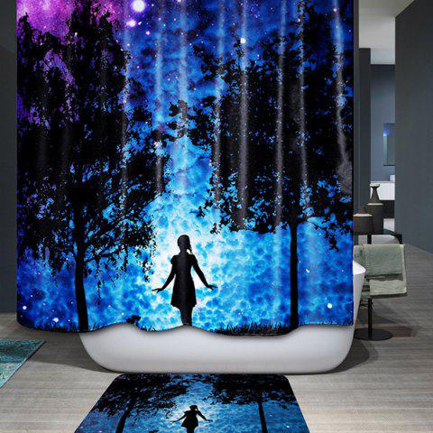 Latest 3D Mysterious Night Printed Waterproof Polyester Shower Curtain