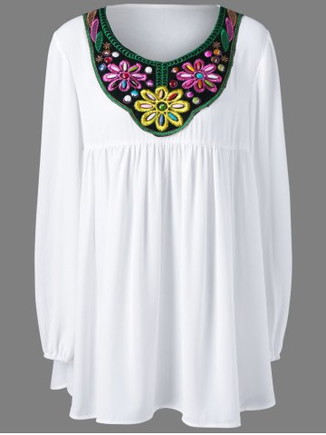 Cheap Plus Size Bead and Embroidery Blouse WHITE XL