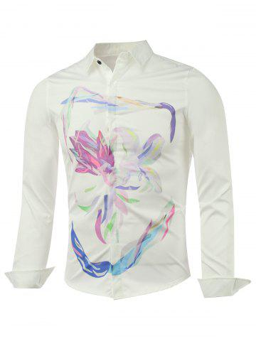Best Long Sleeve Wash Painting Printed Shirt