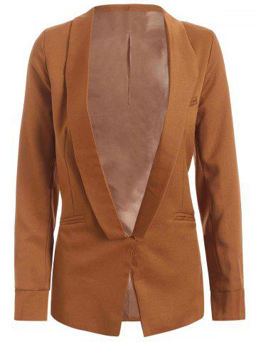 Chic Shawl Collar Pocket Design Plain Blazer CAMEL XL