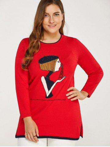 Unique Side Slit Plus Size Sweater RED ONE SIZE