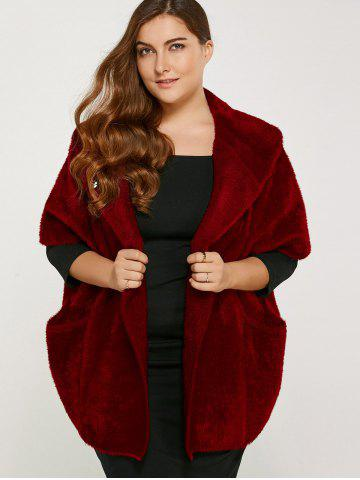 Affordable Plus Size Knitted Cardigan with Pocket WINE RED ONE SIZE