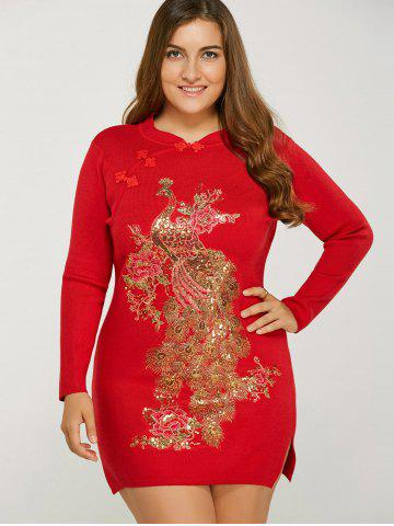 Latest Vintage Plus Size Glitter Sequin Jumper Dress with Sleeves RED ONE SIZE