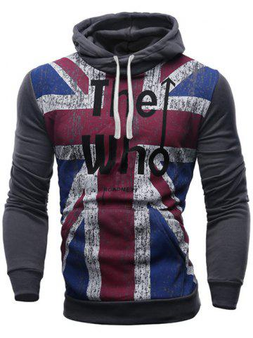 Affordable Slimming Hooded Union Jack Letters Print Color Rib Spliced Men's Long Sleeves Hoodie
