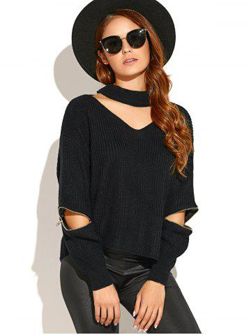 Online Choker Neck Zippered Sweater BLACK ONE SIZE