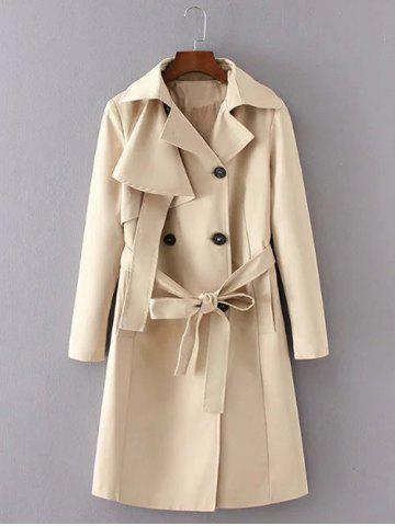 Shop Belted Button Up Trench Coat KHAKI M
