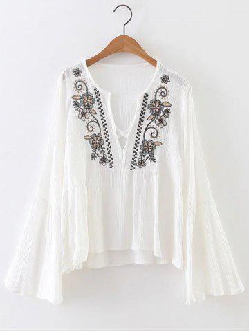 Store Flower Embroidered Bell Sleeves Asymmetric Blouse