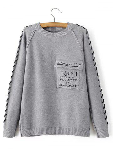 Buy Braided Pattern Flap Pockets Pullover Sweater GRAY ONE SIZE