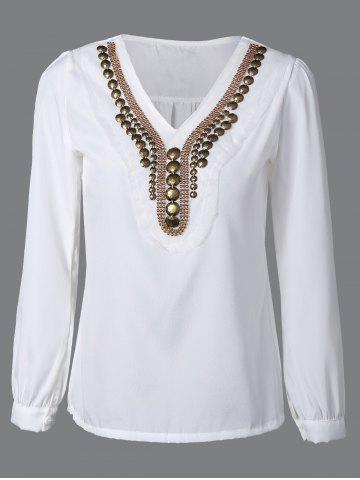 Fancy Long Sleeve V Neck Top