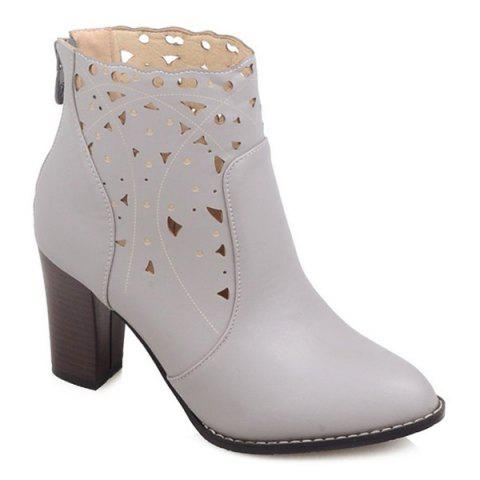 Cheap Cut Out Chunky Heel Ankle Boots LIGHT GRAY 40