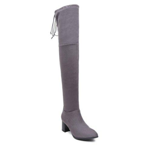 New Flock Chunky Heel Thigh High Boots