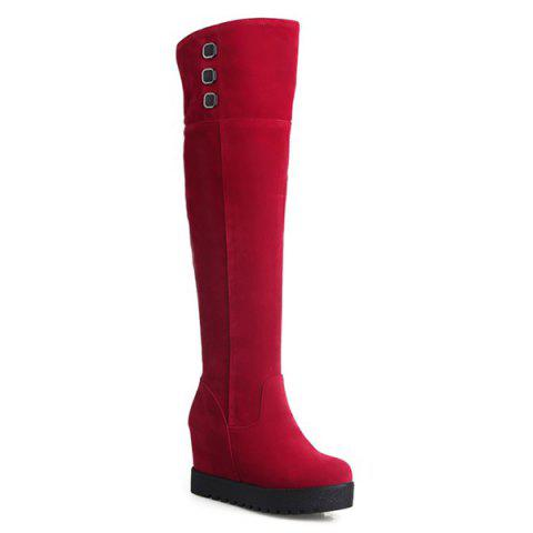 Discount Hidden Wedge Flock Knee-High Boots