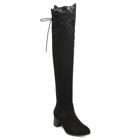 Sale Lace Spliced Chunky Heel Pointed Toe Thigh Boots BLACK 39