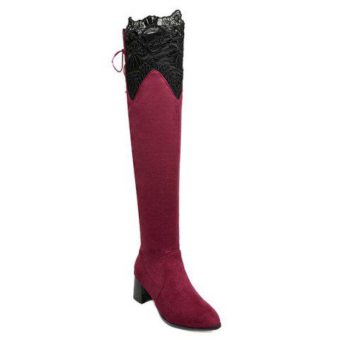 Lace Spliced Chunky Heel Pointed Toe Thigh Boots - Red - 37