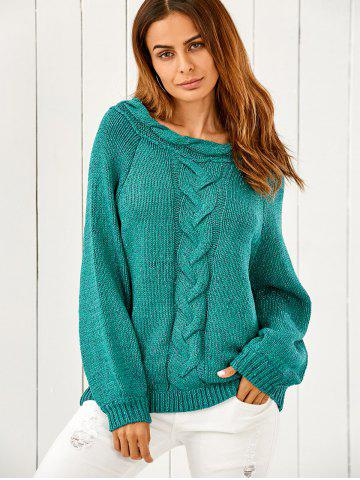 Sale Puffed Sleeve Cable Knit Oversized Sweater GREEN ONE SIZE