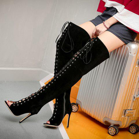 Store Stiletto Heel Lace-Up Peep Toe Thigh Boots - 40 BLACK Mobile
