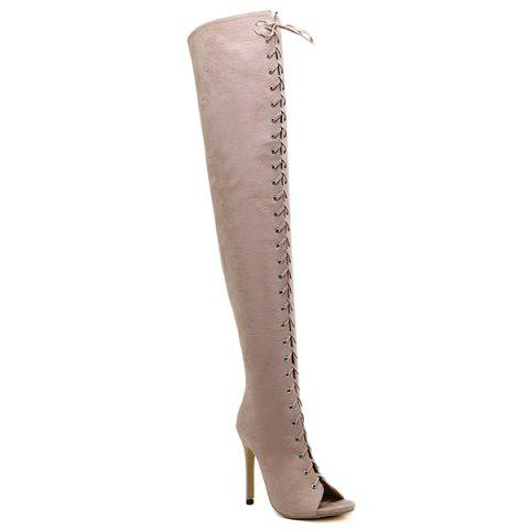Stiletto Heel Lace-Up Peep Toe Thigh Boots - Apricot - 38