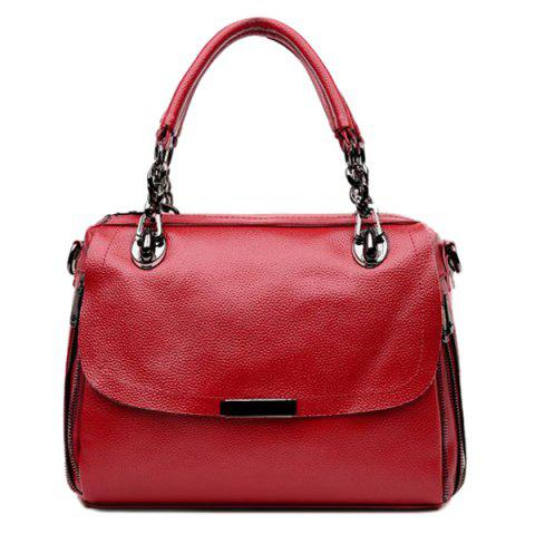 Outfits Chain Textured PU Leather Handbag - WINE RED  Mobile