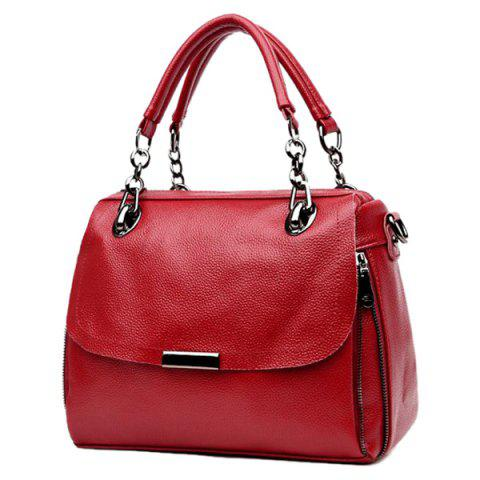 New Chain Textured PU Leather Handbag - WINE RED  Mobile