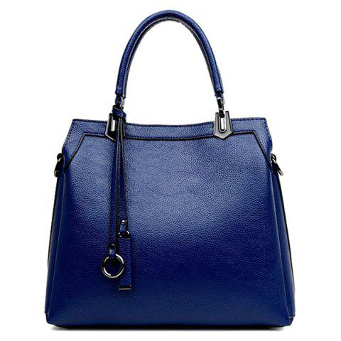 Fashion Pendant Textured PU Leather Handbag - BLUE  Mobile