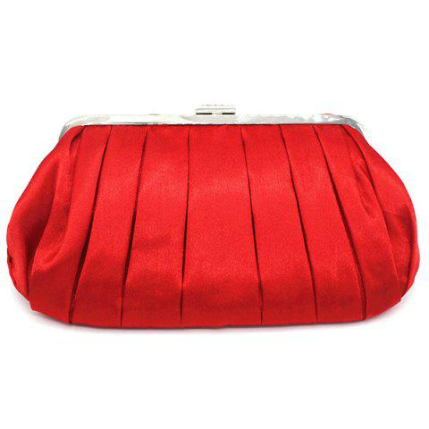 Fancy Satin Flowers Pleated Evening Bag - RED  Mobile