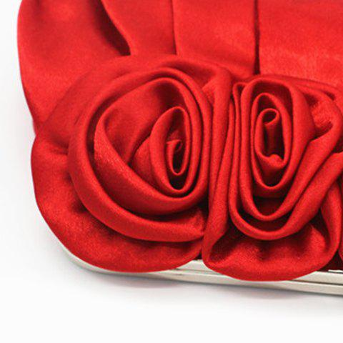 Trendy Satin Flowers Pleated Evening Bag - RED  Mobile