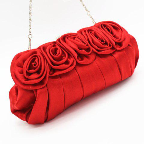 Outfits Satin Flowers Pleated Evening Bag - RED  Mobile