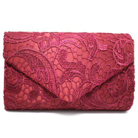 Discount Envelope Lace Evening Bag WINE RED