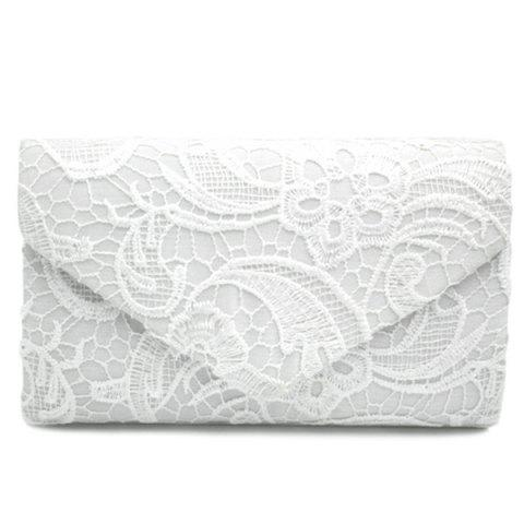 Trendy Envelope Lace Evening Bag - WHITE  Mobile