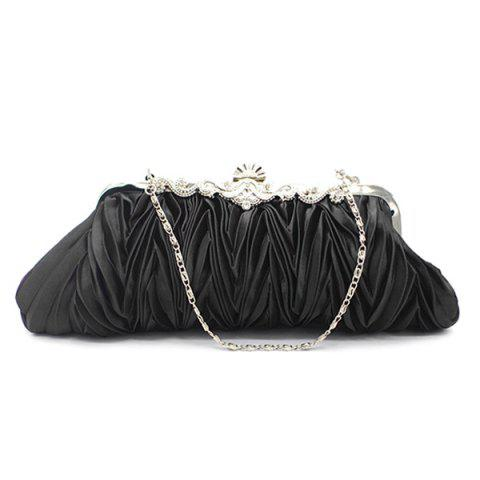 Store Metal Trimmed Pleated Satin Evening Bag