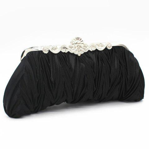 Cheap Metal Trimmed Pleated Satin Evening Bag - BLACK  Mobile