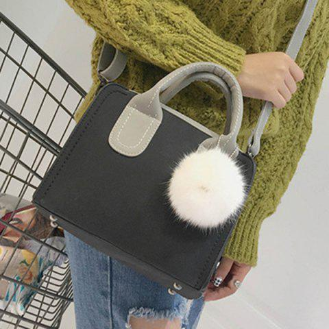 Latest Pompon Stitching Color Block Handbag