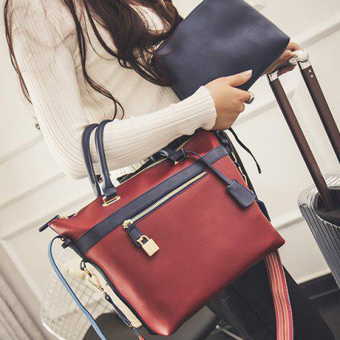 Affordable Colored Strap Lock PU Leather Handbag BLUE/RED