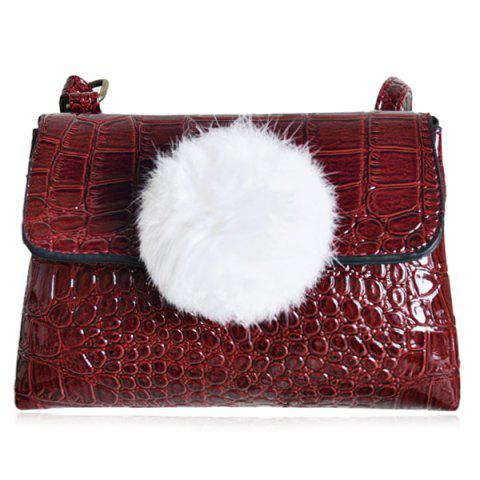 Outfits Pompon Crocodile Embossing Crossbody Bag