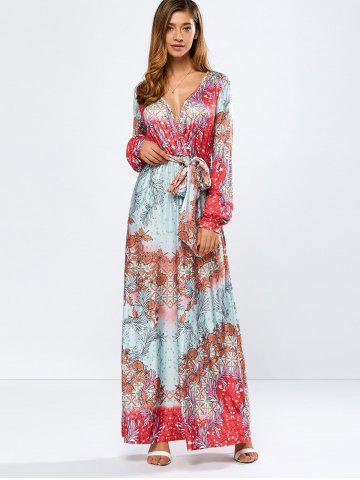 Best Printed Plunging Neck Beled Surplice Maxi Dress