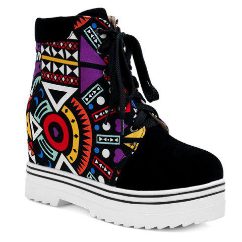 Trendy Splicing Geometric Pattern Tie Up Ankle Boots