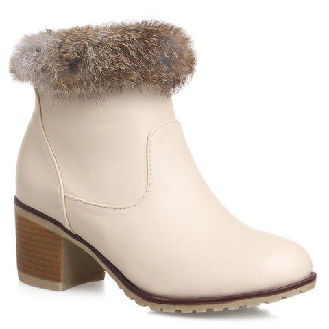 Unique Chunky Heel PU Leather Ankle Boots