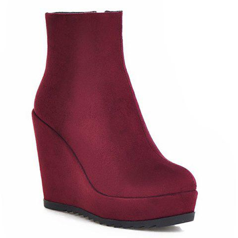 Platform Suede Wedge Ankle Boots - Wine Red - 38