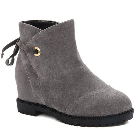 New Tie Up Hidden Wedge Suede Ankle Boots