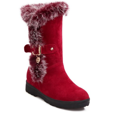 Cheap Buckle Faux Fur Increased Internal Mid-Calf Boots