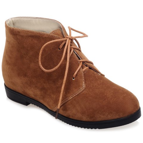 Outfits Tie Up Suede Flat Heel Ankle Boots BROWN 39
