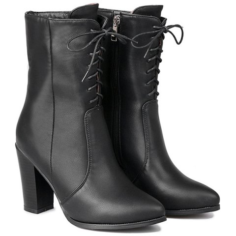 Buy Zip Tie PU Leather Short Boots - Black 38