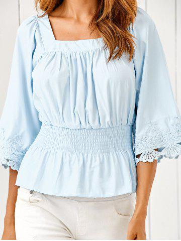 Outfit Square Neck Ruched Smock Lace Spliced Blouse
