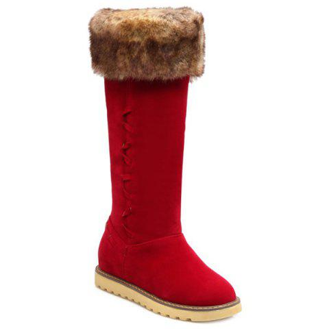 Sale Winter Warm Fur Suede Mid Calf Snow Boots