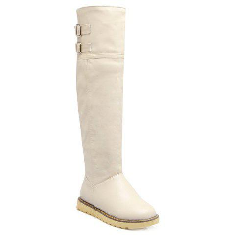 Flat Faux Leather Buckle Knee High Boots - OFF WHITE 39