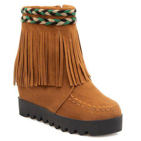 Cheap Increased Internal Weaving Fringe Ankle Boots YELLOW 39